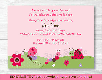 Baby Bugs Ladybug Butterfly Printable Baby Shower Invitation Editable PDF