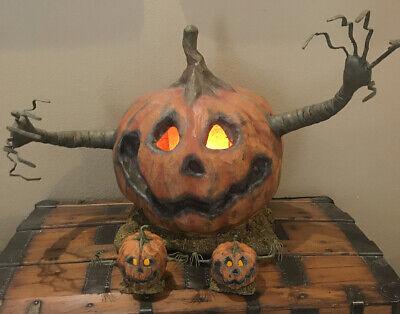 Bethany Lowe Halloween Into The Woods Orange Pumpkin Set of 3 w/Lights Included