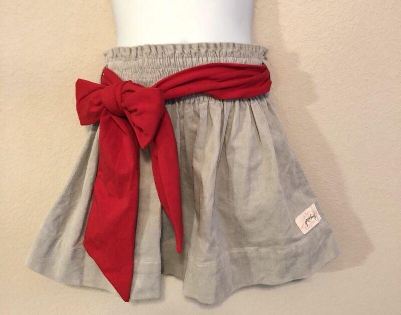PERSNICKETY Gray Corduroy Hattie Skirt & Red Sash Size 4 4T
