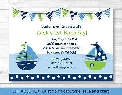Nautical Sailboat Printable Birthday Invitation Editable PDF](Nautical Birthday Invitations)