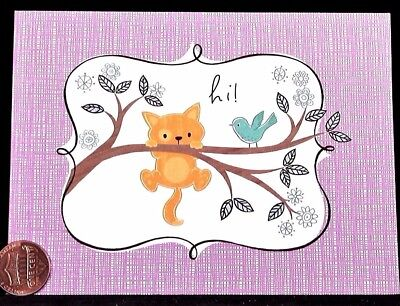 Adorable Orange Kitten Cat Bird Branch Hi - SMALL Blank Greeting Note Card - NEW