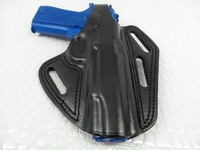 - MASC- LEATHER THREE SLOT PANCAKE HOLSTER (OWB) WITH THUMB BREAK (RIGHT HAND)