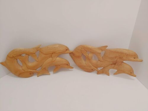 WOODEN HAND CARVED (UNIQUE) 2 DOLPHINS WALL DECOR HANGING PLAQUE (SMALL FLAW)