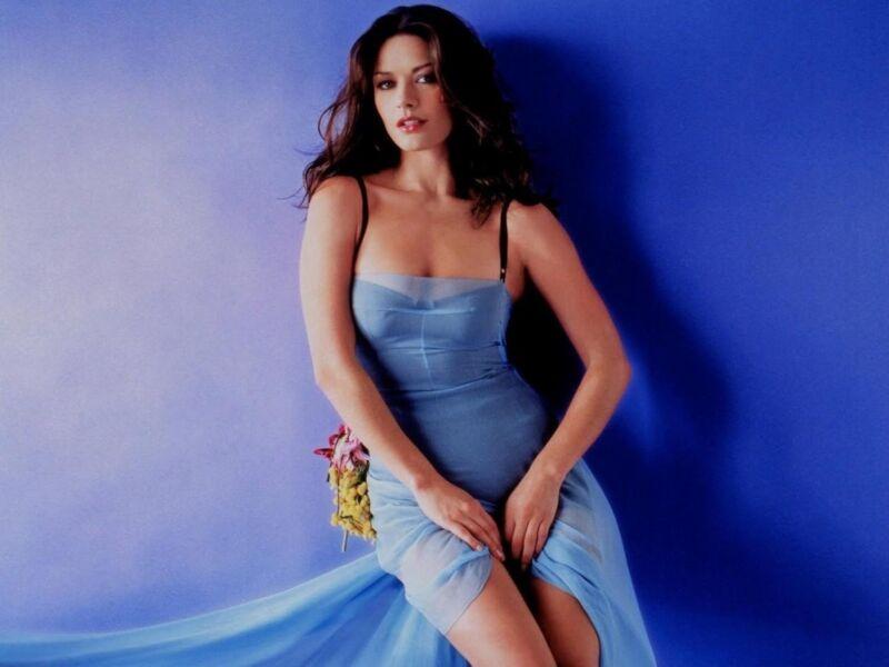 Catherine Zeta Jones Posing Blue Dress 8x10 Photo Print