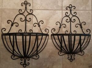 New wrought iron wall planters