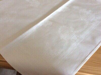 "Unused Irish Mill Vintage Damask Table Topper Tea Cloth Urn Swags Motif 34"""