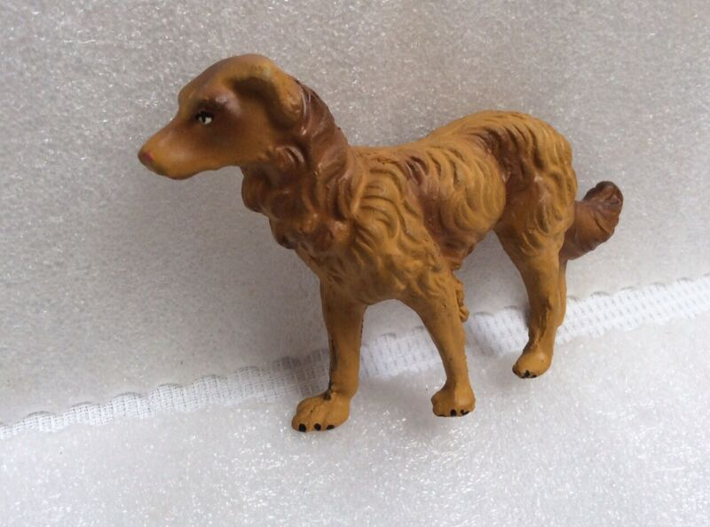"""Vintage Christmas Nativity Replacement Brown Dog Made in Italy 3 1/2"""""""