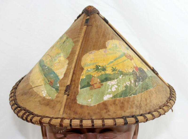 Vintage Asian Painted Bamboo Hat
