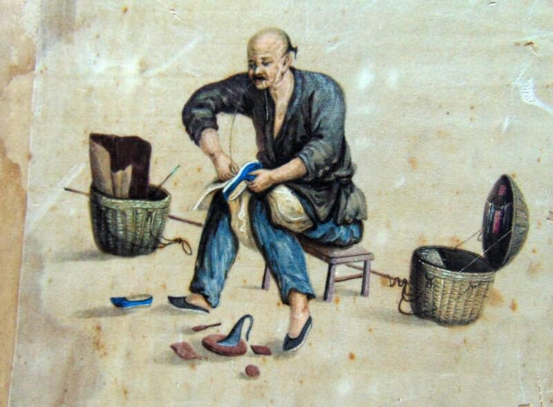 Incredible Chinese  Painting on silk of Cobbler Sandal Maker 19th century