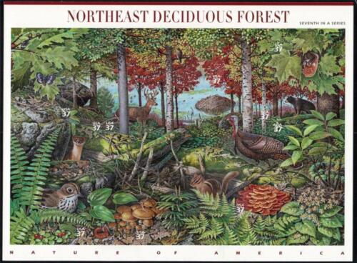 Sheet 10 Mint NORTHEAST DECIDUOUS FOREST Stamps: New England Fall Colors Foliage