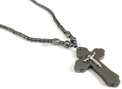 (Men's Black Hematite Necklace Cross Pendent Silver tone Crucifix length 18