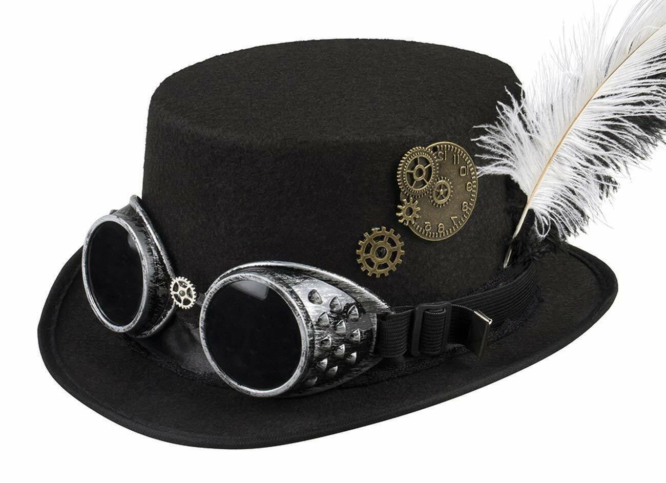 Steampunk Hut Zylinder mit Brille und Federn Karneval Party Fasching Retro