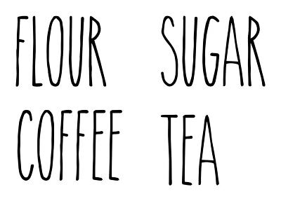 4 Canister Labels Vinyl Stickers - Flour Tea Sugar Coffee -