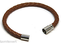 Brand Teens Unisex Brown Braided Pu Leather Bracelet Stainless Steel Lock - igorbella - ebay.co.uk