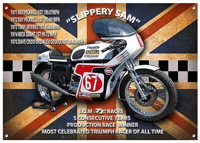 """SLIPPERY SAM""  MOTORCYCLE METAL SIGN,CLASSIC I.O.M T.T RACES WINNER."
