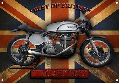 LGE A3 SIZE THE CLASSIC MANX MOTORCYCLE ENAMELLED FINISH METAL SIGN,VINTAGE.
