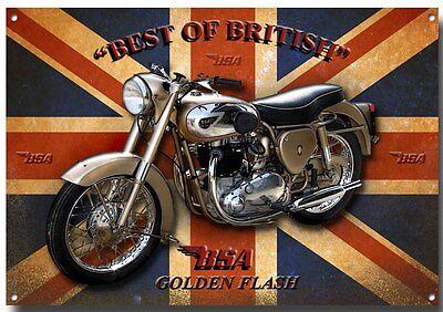 BSA GOLDEN FLASH MOTORCYCLE METAL SIGN,VINTAGE BSA MOTORCYCLES.