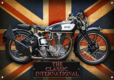 LARGE A3 SIZE CLASSIC INTERNATIONAL METAL SIGN,ENAMELLED FINISH,VINTAGE CLASSICS