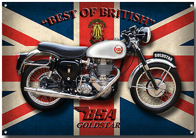 BSA GOLDSTAR MOTORCYCLE METAL SIGN.VINTAGE BRITISH BSA MOTORCYCLE.