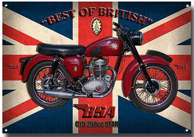 BSA C15 250cc STAR MOTORCYCLE METAL SIGN.VINTAGE BSA MOTORCYCLES.BSA ENTHUSIAST.