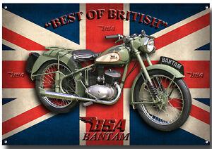 BSA-Bantam-Moto-letrero-metal-clasico-clasico-Entusiasta