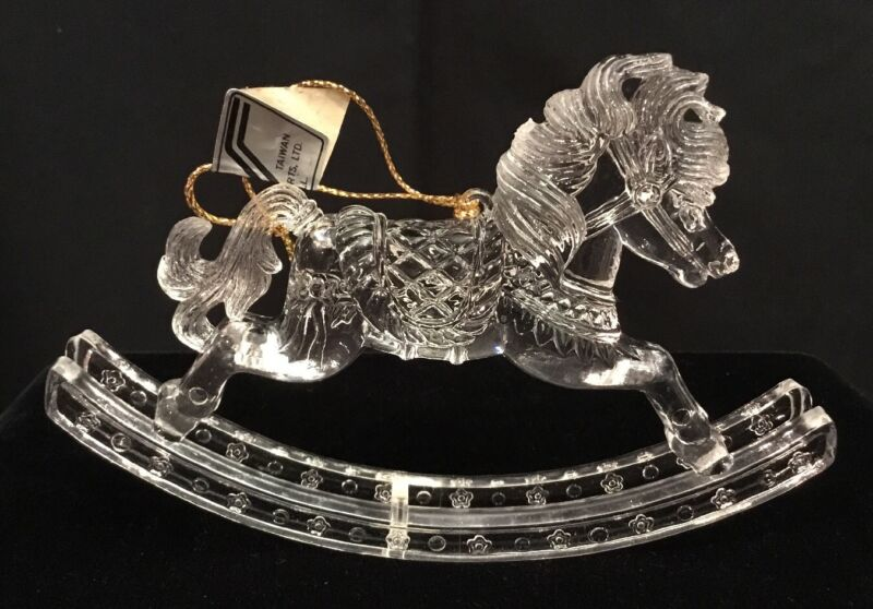 Acrylic Clear Plastic Rocking Horse Ornament/Decoration Lot Of 2