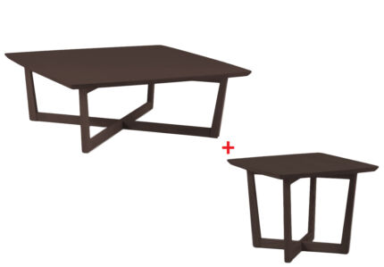 MUTO Coffee Table+Lamp Table Walnut Design Ash Timber Square