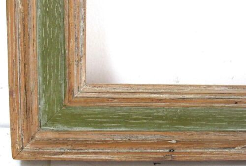 VINTAGE WHITEWASH / GREEN DISTRESSED WOOD  FRAME FOR PAINTING  15  X 11 INCH