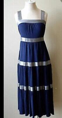 FREE PEOPLE navy blue knit pewter silk satin stripe tiered midi sun dress -