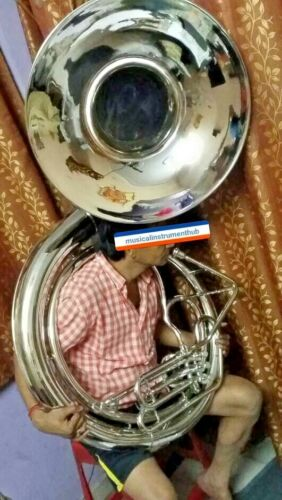 "SOUSAPHONE BIG BRASS JUMBO 25"" BELL SIZE IN CHROME POLISH + FREE CASE+FREE SHIP"