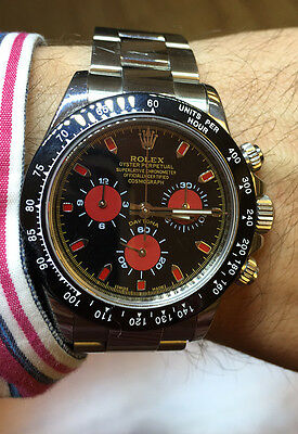 ROLEX MENS DAYTONA WATCH 116520 STAINLESS STEEL RED & YELLOW FACE CERAMIC BEZEL
