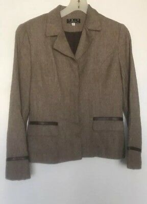 TRIO  NEW YORK   DRESS  SUIT JACKET SET 6 Jacket 8 Skirt Brown Tweed  Euc ()