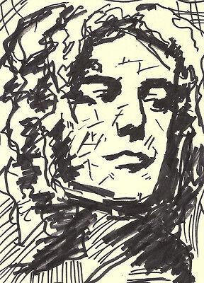 Expressionist Illustration on Paper Iconic Rock Musician Robert Plant Pop Art