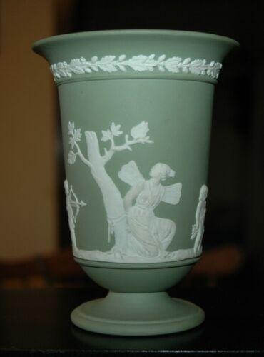 Vintage Wedgwood Sage Green jasperware Cupid Scene Footed Vase. Mint condition