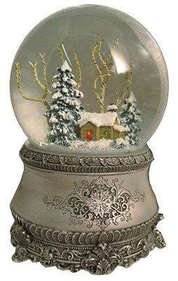 5 5  Cottage With Tree Glitter Silver Base 100Mm Dome Play Music By Roman  240
