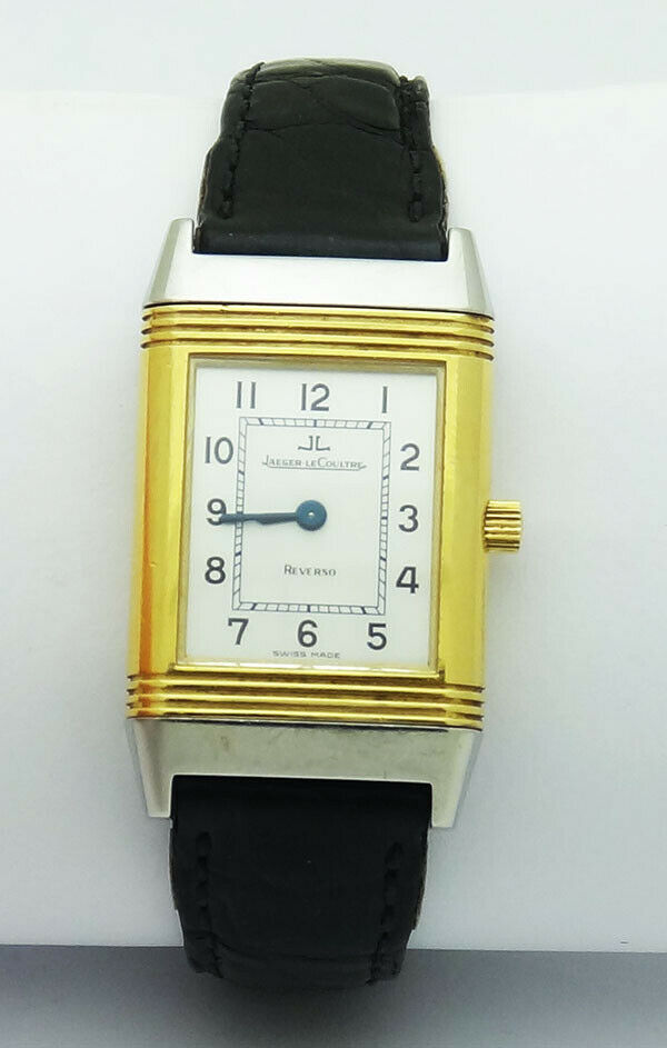Jaeger-LeCoultre Reverso Classic Steel 750 Gold Silver Dial Small Leather Watch - watch picture 1