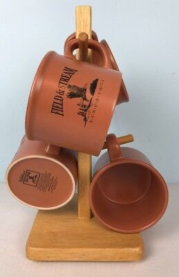 Field and Stream 4 Mug Cup Set Coffee Soup Camping Eagle Wood Stand 16oz Field Cup Set
