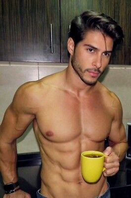 Shirtless Male Beefcake Muscular Body Handsome Dude Coffee Time PHOTO 4X6 F1051