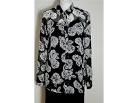 Floral black and white sheer blouse