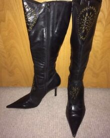 Ladies Black Studded High Healed Boots size 5(38) bought