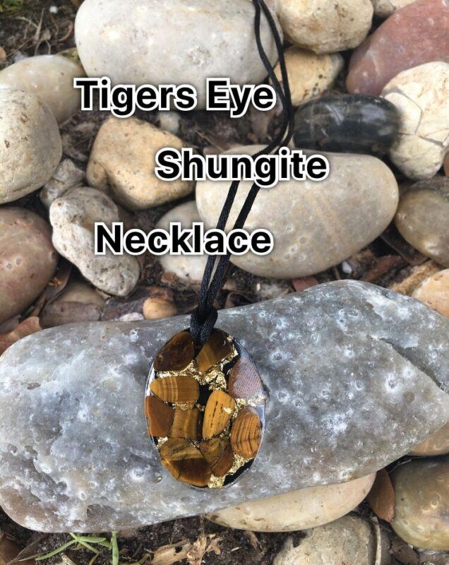 Tigers Eye Shungite Necklace ( EMF RADIATION PROTECTION ) FREE SHIPPING