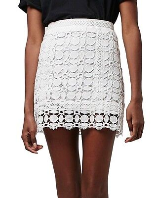 NWT $70 TOPSHOP Geometric Guipure Lace A-Line Skirt Zip Back White Size 4