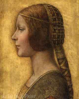 La Bella Principessa by Leonardo da Vinci The Beautiful Princess 8x10 Print 1506