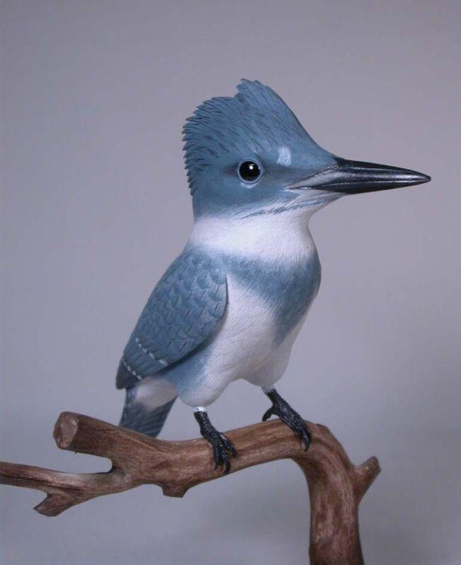 "9-1/4"" Belted Kingfisher Original Bird Carving/Birdhug"