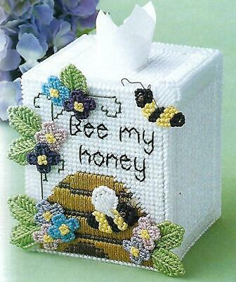 Bee My Honey Tissue Box Cover plastic canvas PATTERN INSTRUCTIONS Box Plastic Canvas Pattern