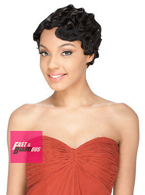 MADAME by Sensual Short Finger Wave Synthetic Full Wig Mommy Wig Style ()