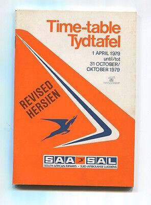 SOUTH AFRICAN AIRWAYS SAA TIMETABLE REVISED SUMMER 1979 SAL