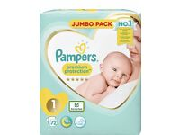 Pampers size 1 nappies (x 123)