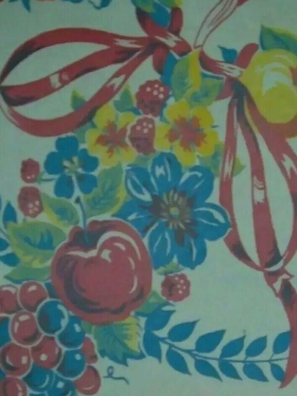 VINTAGE TABLECLOTH RED FRUIT