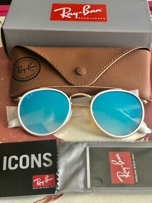 RAY-BAN Sunglasses Round Double Bridge Blue Gradient Flash Lens RB3647N (Ray Ban Blue Gradient)